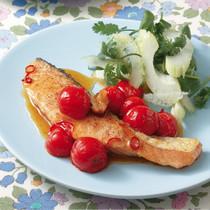 鮭とプチトマトのナンプラー照り焼き