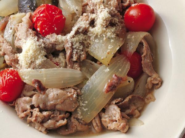 豚肉とプチトマトのアンチョビー煮