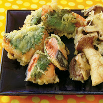 鮭の梅みそサンド天ぷら