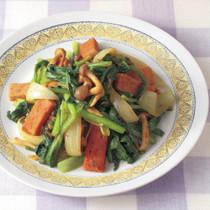 小松菜とランチョンミートのカレー炒め
