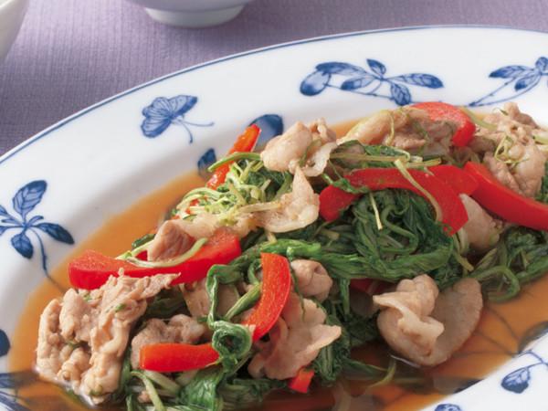 水菜と豚肉のオイスターソース炒め