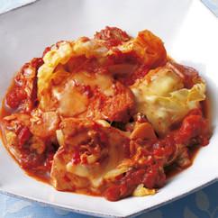 焼きキャベツとかじきのトマト煮