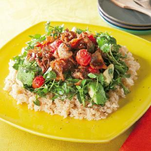 カリカリ豚とトマトのしょうが焼きライス
