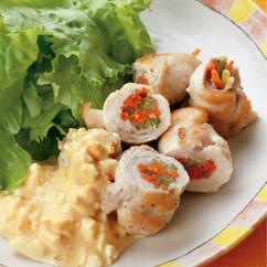 鶏胸肉の野菜ロールソテー