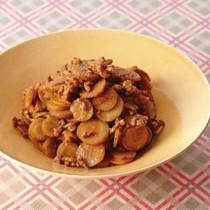 薄切りごぼうのカレーそぼろ煮