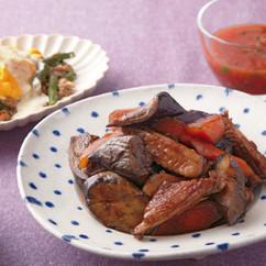 なすと鶏スペアリブのソース煮