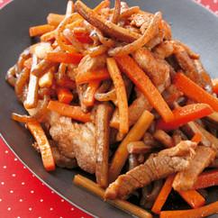 厚切り豚と根菜のボリュームきんぴら