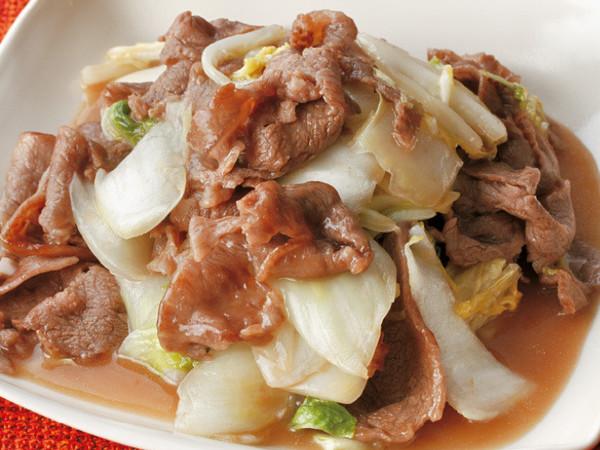 牛肉と塩もみ白菜の甘酢炒め