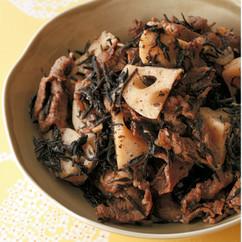 牛肉とひじきの薄甘煮