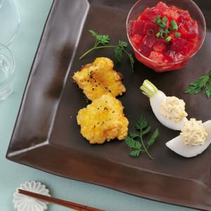 カマンベールの塩麹フリット(写真左)