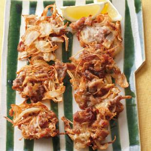 豚こまと玉ねぎのしょうが風味かき揚げ