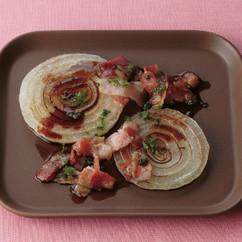 新玉ねぎとベーコンのバルサミコ酢ステーキ