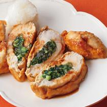小松菜はさみ照り焼きチキン