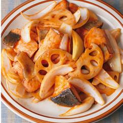 鮭とれんこんのケチャップ炒め
