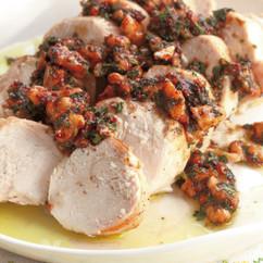 鶏肉ロールの蒸し焼きパセリソース