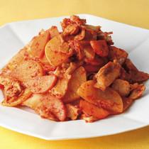 大根と豚肉のキムチ炒め