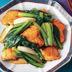 鮭と小松菜の甘辛炒め