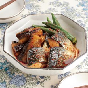 さばと夏野菜の韓国風煮もの