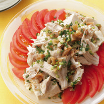 蒸し鶏と豆腐の中華風だれ