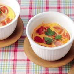 プチトマトとハムのレンジ茶碗蒸し