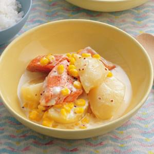鮭とじゃがいものマスタードクリーム煮