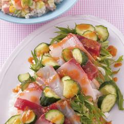 水菜×刺し身×ゆずこしょうみそドレッシングのサラダちらし