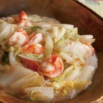 白菜とえびの甘酢とろみ炒め