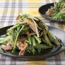 水菜と豚肉の酒蒸しゆずこしょうだれ