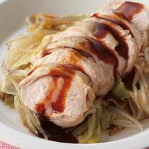 鶏肉とキャベツのフライパン蒸し オイスターだれ