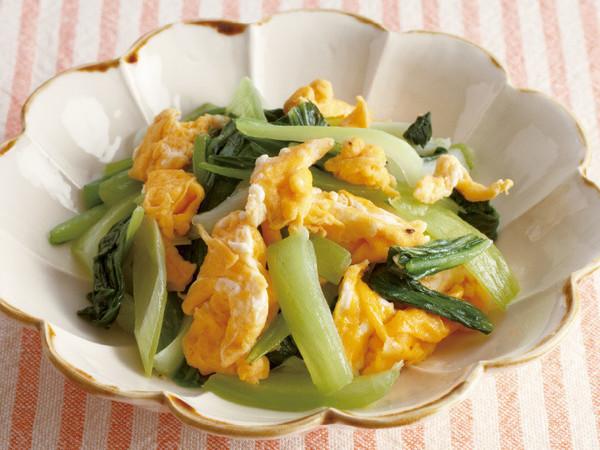 青梗菜とねぎの卵炒め