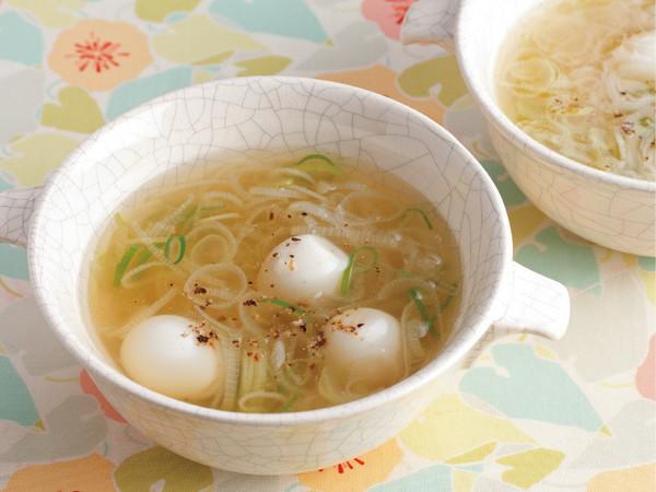 うずら卵とねぎの中華風スープ