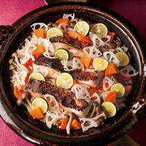 鮭とれんこんのみそ風味土鍋ご飯