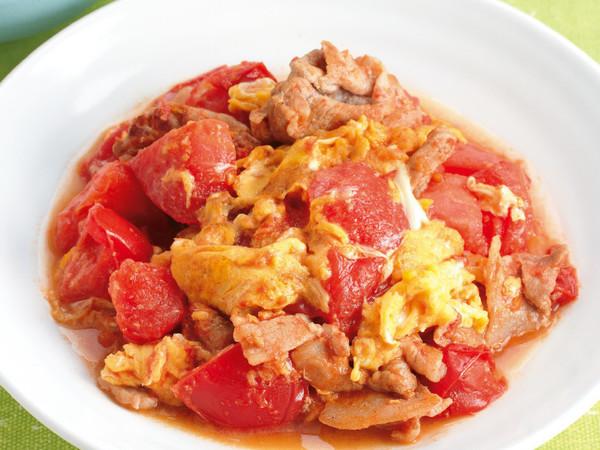 トマトと豚バラの卵炒め