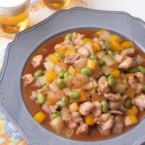 鶏肉と枝豆の中華風炒め