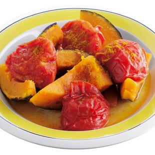 かぼちゃとトマトのカレー風味焼き