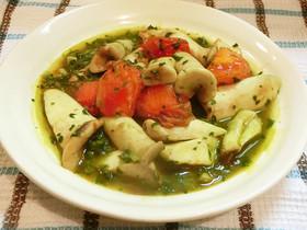 エリンギとトマトとほうれん草イタリアン風
