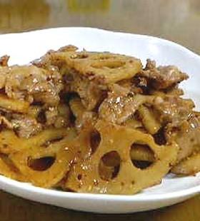 レンコンと豚肉の簡単ソース炒め