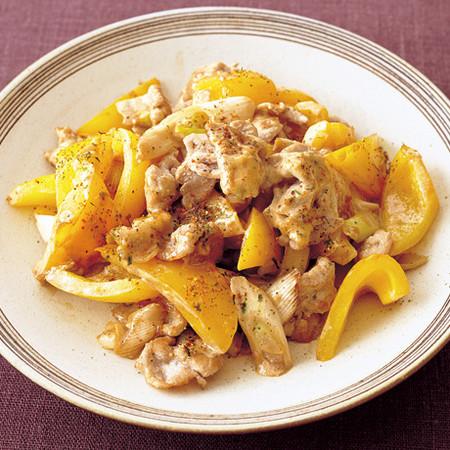 豚肉とパプリカのみそマヨ炒め