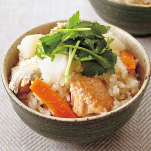 鮭と長いもの炊き込みご飯