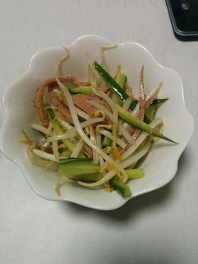 キュウリ、もやし、ウインナーの中華サラダ