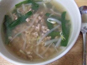 ニラとひき肉の和風スープ