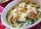 牡蠣とたっぷりホウレン草の豆乳グラタン