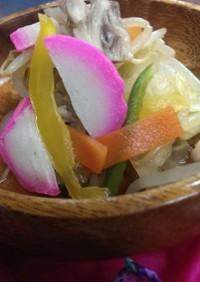 超簡単 ピンク蒲鉾と7色野菜のおひたし