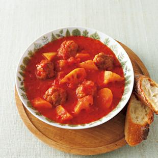 豚こまボールと根菜のトマトシチュー