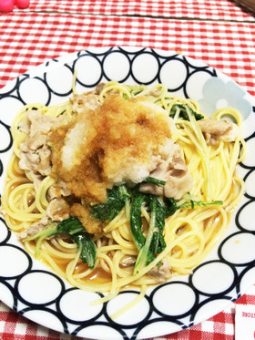 簡単☆ランチ☆豚肉と水菜のおろしパスタ
