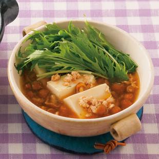 水菜たっぷりあんかけ湯豆腐