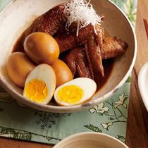 鶏手羽と卵のウスターソース煮