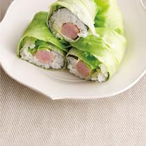 ソーセージのレタス巻き寿司