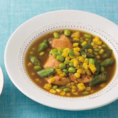 とうもろこしと鮭のカレースープ