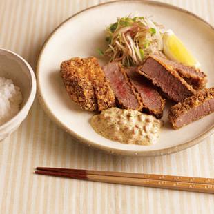 まぐろカツの納豆タルタルソース